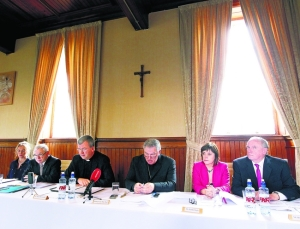 Attending the Report and audit on safeguarding children in the Clogher Diocese held in St.Macartan's College in Monaghan are (from left), Mrs Elaine Murphy, Mr Pat Drury, Fr. Shane McCaughey, Bishop Liam MacDaid, Ms Deirde Boyle and Mr Brendan Kelly. © picture by John McVitty, Enniskillen, Co.Fermanagh, N. Ireland - 0777198737