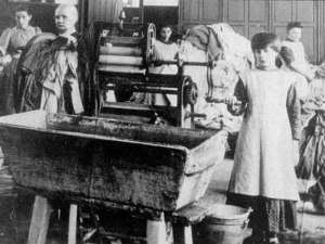 Young girls at work in a Magdalene Laundry. Waiting out the clock as elderly victims see their hopes fade.