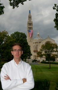 Timothy Schmalz, 23, stands before the Basilica of the National Shrine of the Immaculate Conception in Washington D.C. Schmalz, originally from Howell, was an altar server at the shrine when he met the Rev. Matthew Riedlinger, who has since been removed from ministry in the Diocese of Trenton.Barbara L. Salisbury/For The Star-Ledge