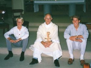 Pedophile Priest Father Victor Rubeo (C) abused both Paul Hersbach (L) and his father Tony.