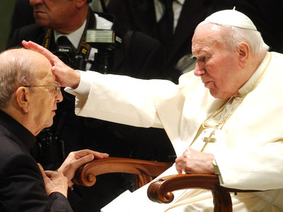n this Nov. 30, 2004, file photo, Pope John Paul II gives his blessing to Marcial Maciel Degollado of Mexico, founder of the Legion of Christ. Allegations have surfaced that the late pope — or at least members of his inner circle — obstructed an investigation into allegations of sexual misconduct against Maciel. Plinio Lepri/AP