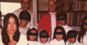 Rachel Mike, who won a settlement in a case involving Father Poole, at her confirmation in the summer of 1975. Behind her is Father George Endal, accused of raping or molesting several boys and allegedly walking in on another priest performing oral sex on a 6-year-old boy and doing nothing to stop it.