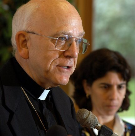 The Republican file photo / Dave RobackThe Most Rev. Thomas L. Dupre, left, former bishop of the Springfield Catholic Diocese, speaks at a press conference in 2003 about a plan to handle abuse by priests. A year later he was accused of molesting two boys in Holyoke.