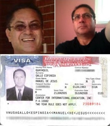 The Rev. Manuel Gallo Espinoza, seen in social media photos (top), fled the country in 2003 after a 15-year-old boy accused him of rape. At bottom is a copy of the visa he received when he returned to the United States to work as a teacher.